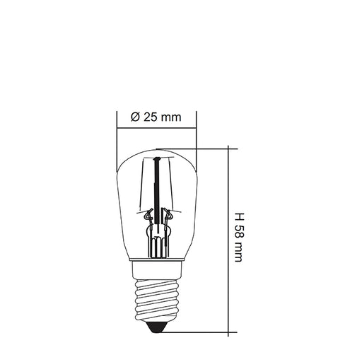 SAL LED FILAMENT PILOT CLEAR GLOBE LP25 1.5W