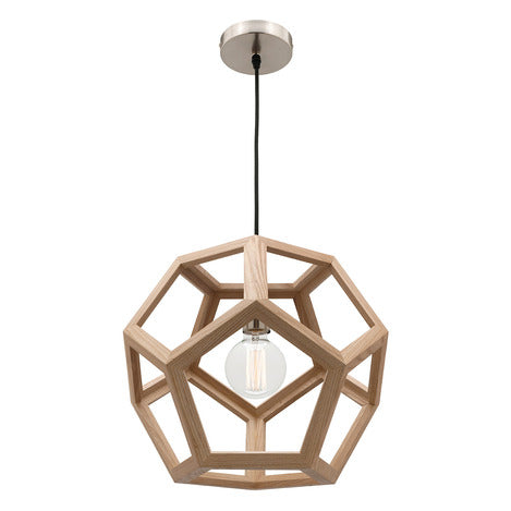 Peeta 1Lt Natural Timber Pendant Mercator Lighting