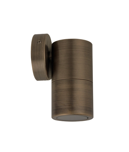 CLA GU10 Single Fixed Exterior Wall Pillar Lights Antique Brass