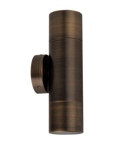 CLA GU10 Up and Down Exterior Wall Pillar Lights Antique Brass