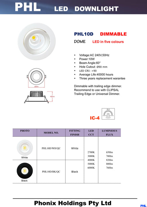 PHL10D Dome Five Colours LED Gimble Downlight