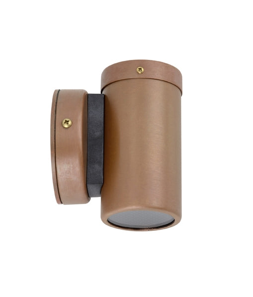 CLA GU10 Single Fixed Exterior Wall Pillar Lights Aged Copper