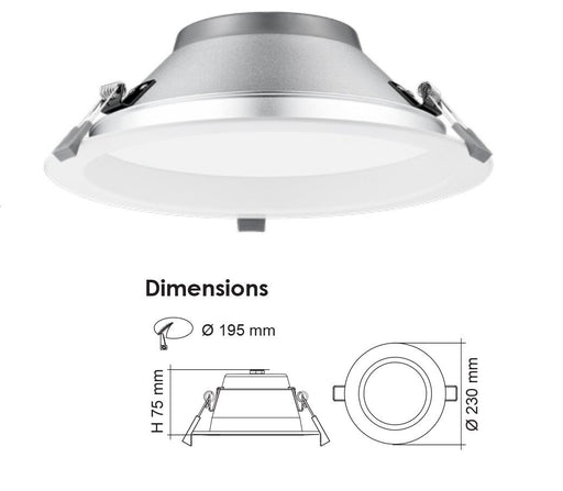 SAL Premier S9075TC/DP LED Downlight 30W IP64 Tri Colour