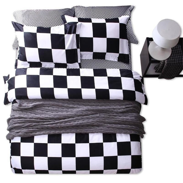Classical Black White Chess Pattern Cotton Duvet Cover Set