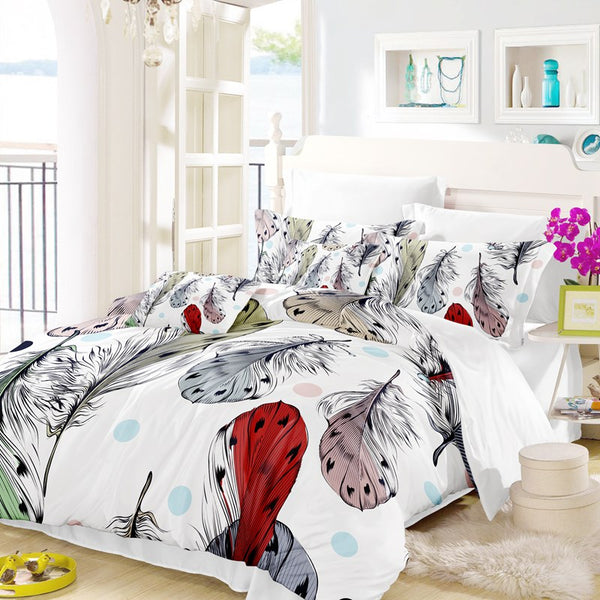Bird and Feathers Bohemian Duvet Cover Set