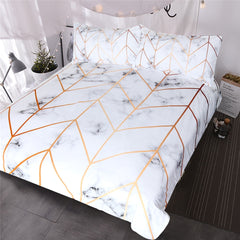 Marble Duvet Cover with Gold Trim