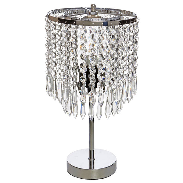 Elegant Crystal and Silver Bed side Lamp