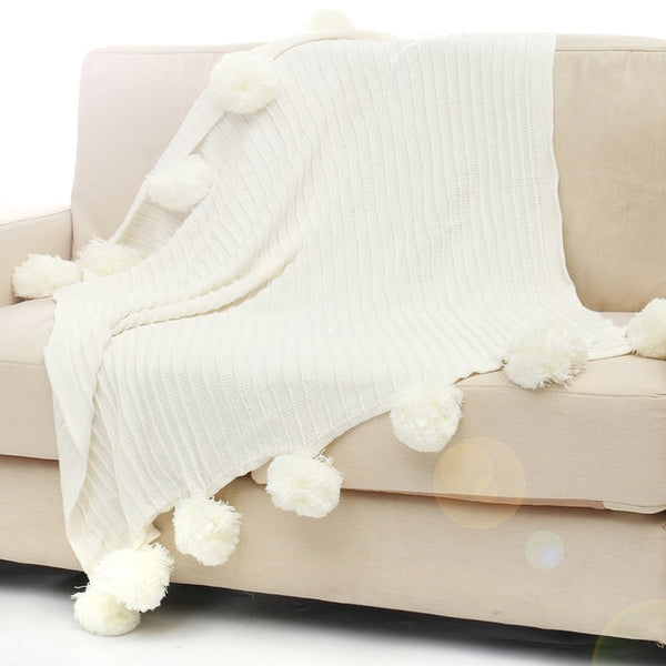 Cotton Pom Crochet Thread Blanket