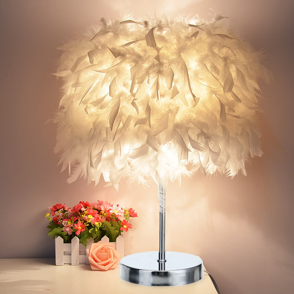 Soft Feather Bed Side Table Lamp