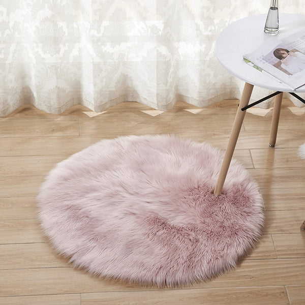 Round Faux Fur Rug