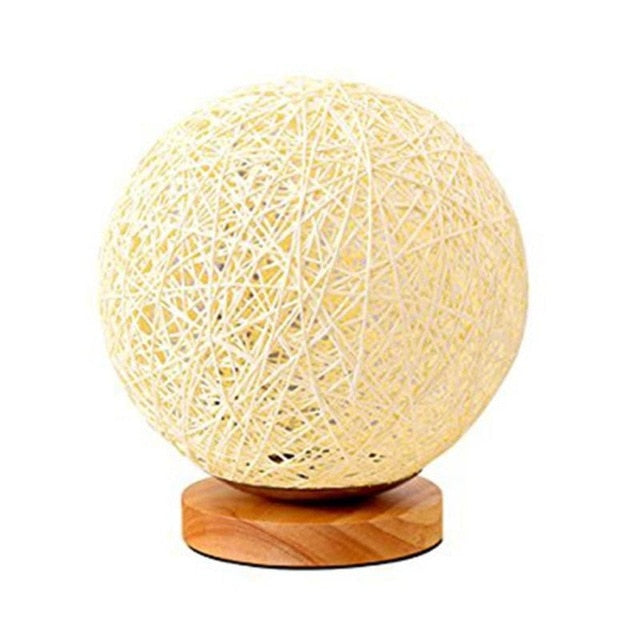 Rattan Ball Bed Side Dimmable Lamp