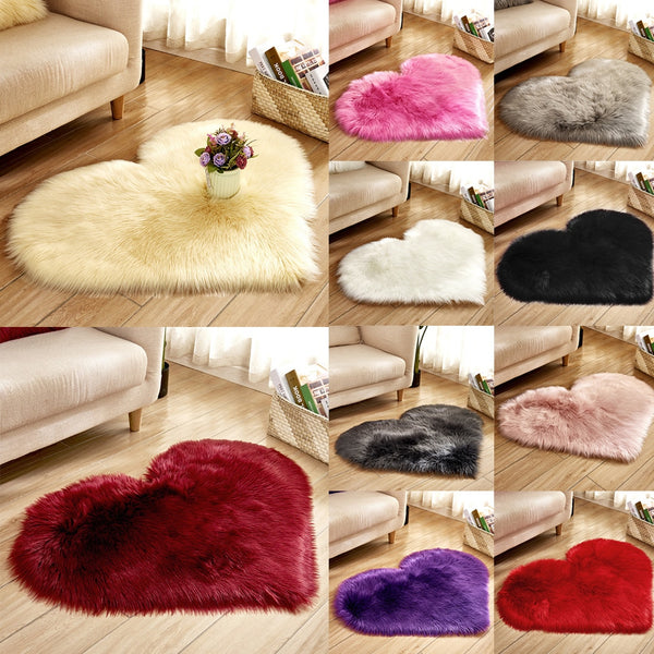 Heart Shaped Faux Fur Rug