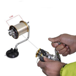 Line spooling station for spinning and baitcast fishing reels, spooler, winder