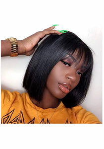 Virgin Hair Lace Front Bob Wig W/ Bang 13x4 - TheWigZone