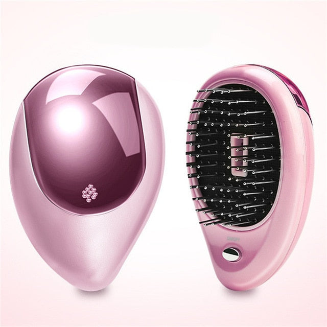 Portable Electric Hair Straightener Brush Anti-static Massage