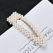 Load image into Gallery viewer, Full Pearl Hair Clips Snap Barrette Stick Hairpins