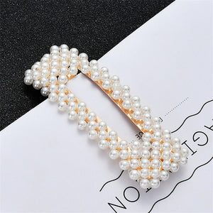 Full Pearl Hair Clips Snap Barrette Stick Hairpins