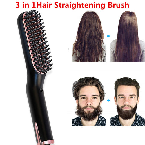 Hair Straightening Men Beard Straightener & Styling Brush