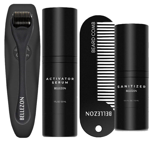 4 Pcs/set Barbe Beard Growth Kit Hair Growth Enhancer Thicker Oil Nourishing Essence Leave-in Conditioner Beard Care with Comb