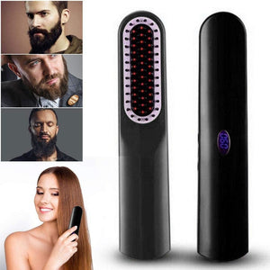 Beard & Hair Straightener Brush USB Charging Cordless