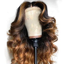 Load image into Gallery viewer, Glueless Brazilian Human Hair Front Lace Wig With Highlight (16 Inch, Lace front wig)