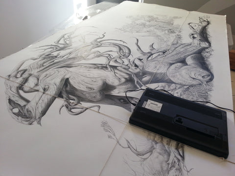 The Fallen drawing being scanned