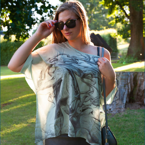 Chiffon women's blouse featuring 'The Fallen' art