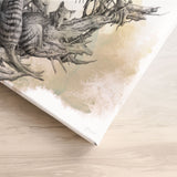 'Driftwood Thylacine' canvas print (with colour)
