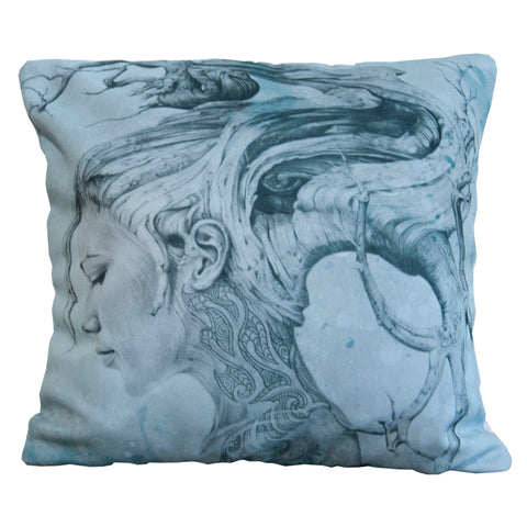 Cushion cover featuring 'Contemplation Blue' artwork