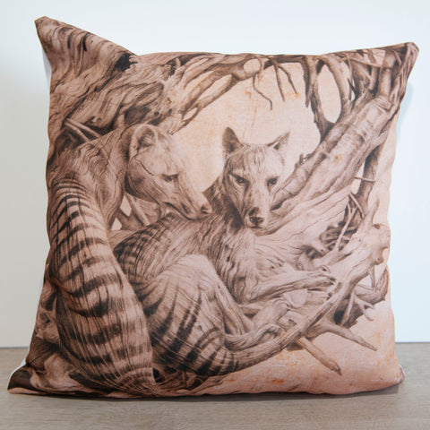 Cushion cover featuring 'Driftwood Thylacine' artwork