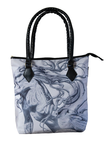 Handbag featuring 'The Fallen' artwork