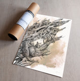 'Driftwood Thylacine' art print (with colour)