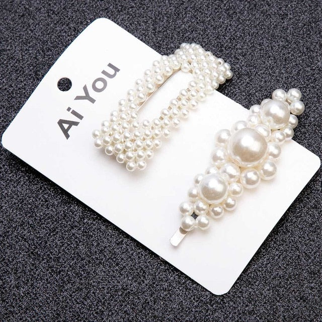 1/2pcs Pearl Hair clips womens Barrette - Disney Voguette