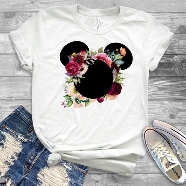 Womens Minnie T-Shirt Mouse Mickey Ear floral graphic print Tee - Disney Voguette