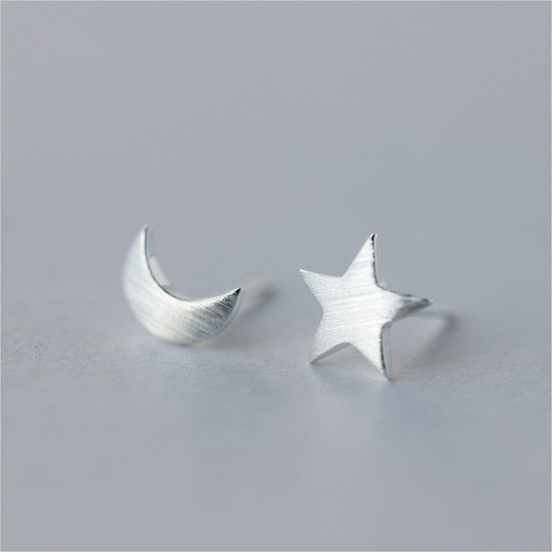 925 Sterling Silver Asymmetry Star Moon Stud Earrings - Disney Voguette
