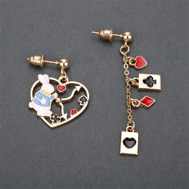 Alice in Wonderland Asymmetry Tassel Earrings Alloy Drop Earrings - Disney Voguette