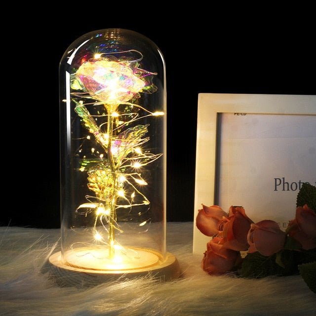 Beauty And Beast inspired enchanted forever Rose & lights in glass dome - Disney Voguette
