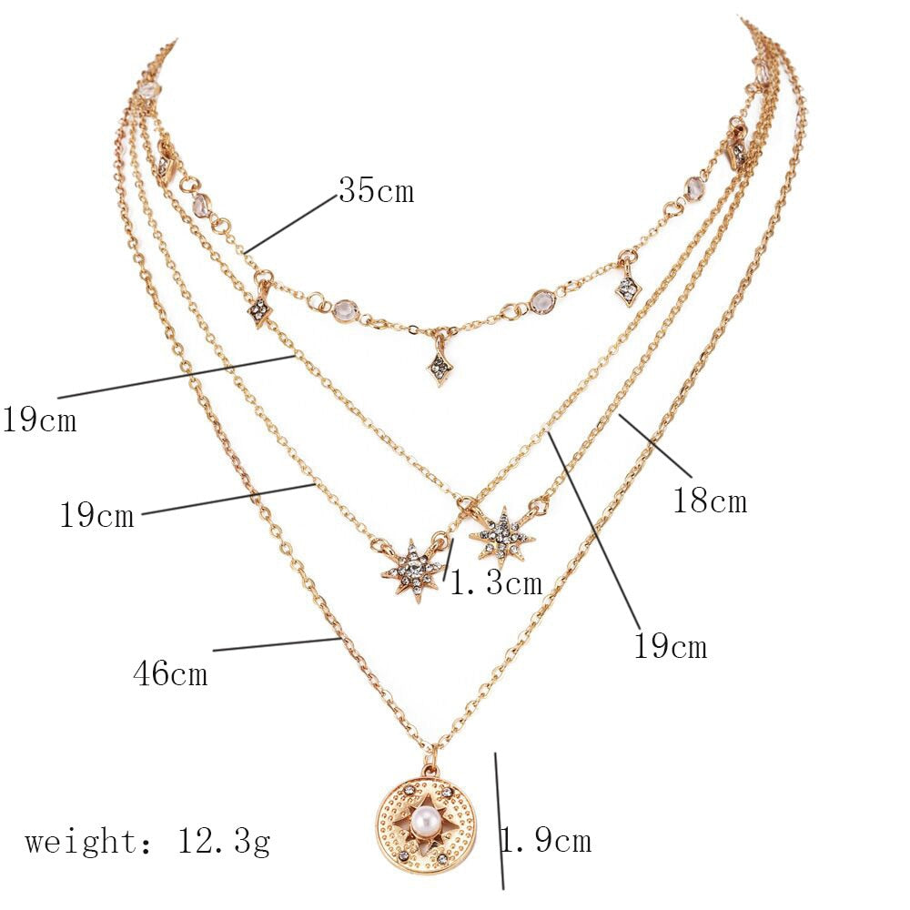 Bohemian Multi layer gold Fashion Delicate Rhinestone Star Pendant Necklace - Disney Voguette