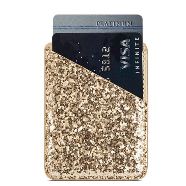 Sequin Mini Multifunction Women Card Pocket Holder Fashion Wallet Stick On Phone - Disney Voguette
