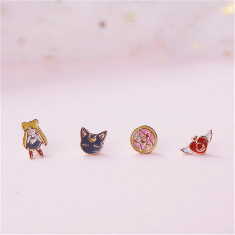 Cartoon Anime Sailor Moon Luna Cat Stud Earrings mix match - Disney Voguette