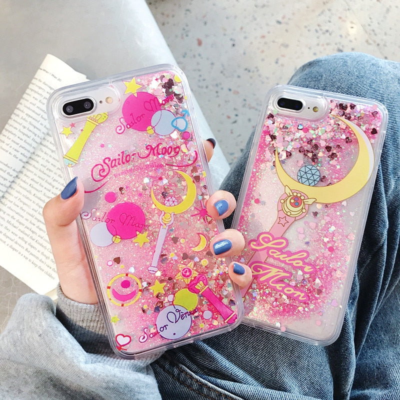 Sailor Moon Glitter Star Liquid Phone Case 3 types available - Disney Voguette