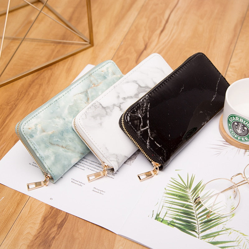 Marble Patent Leather Casual Women Lady Wallets Purse - Disney Voguette