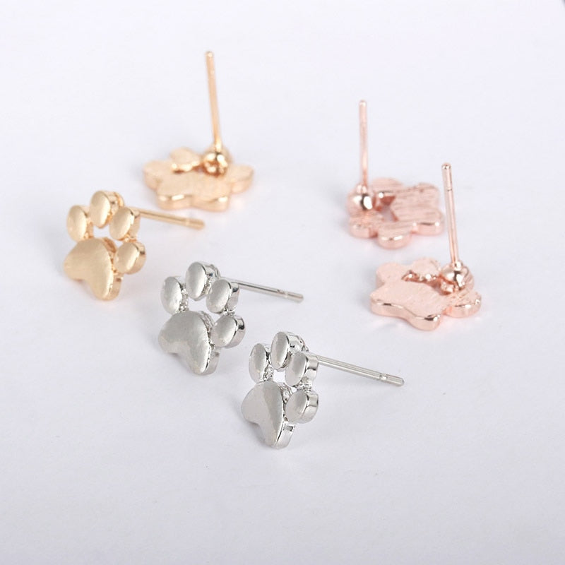 Puppy Dog & Cat Paw print  Metallic Stud Earrings - Disney Voguette