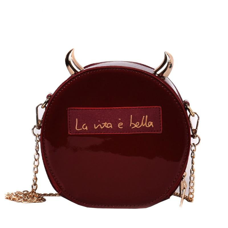 Dazzling Patent Leather Round Fashion Devil Horn Chain Shoulder Bag - Disney Voguette
