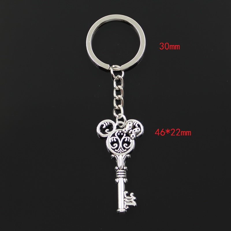 Antique Silver vintage mouse key Metal Keychain - Disney Voguette