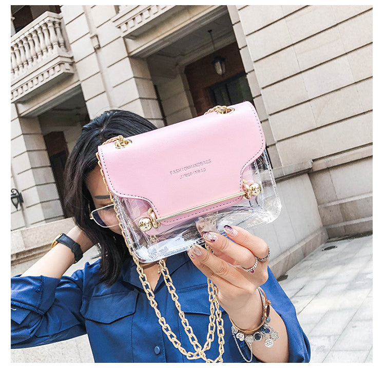 Fashion Women Small messenger Shoulder Bag Clear Transparent PU - Disney Voguette