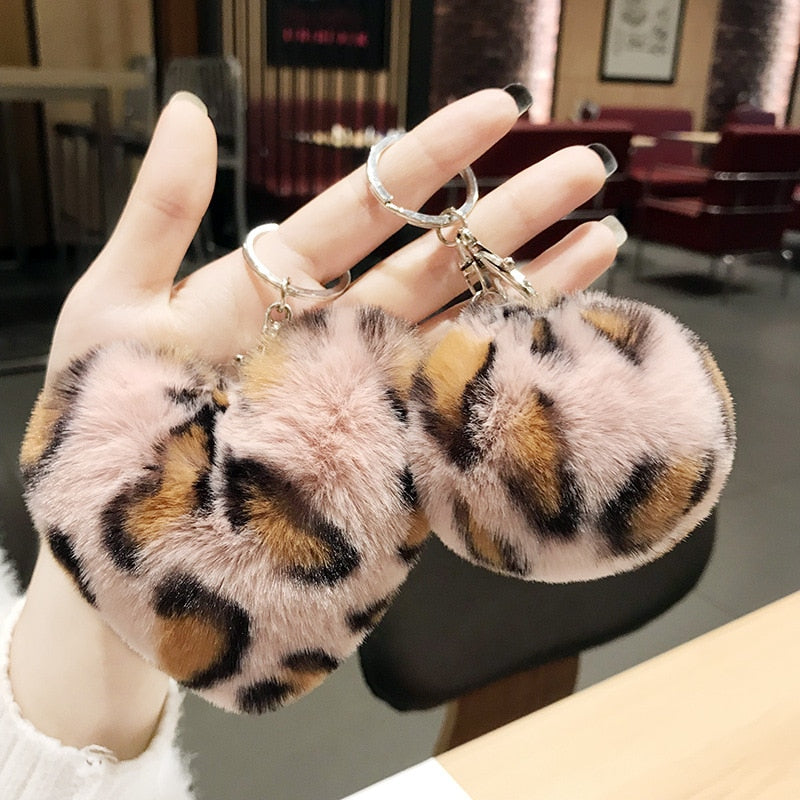 Pompom Leopard Plush Heart Keychain  Fur Ball Key Chain - Disney Voguette