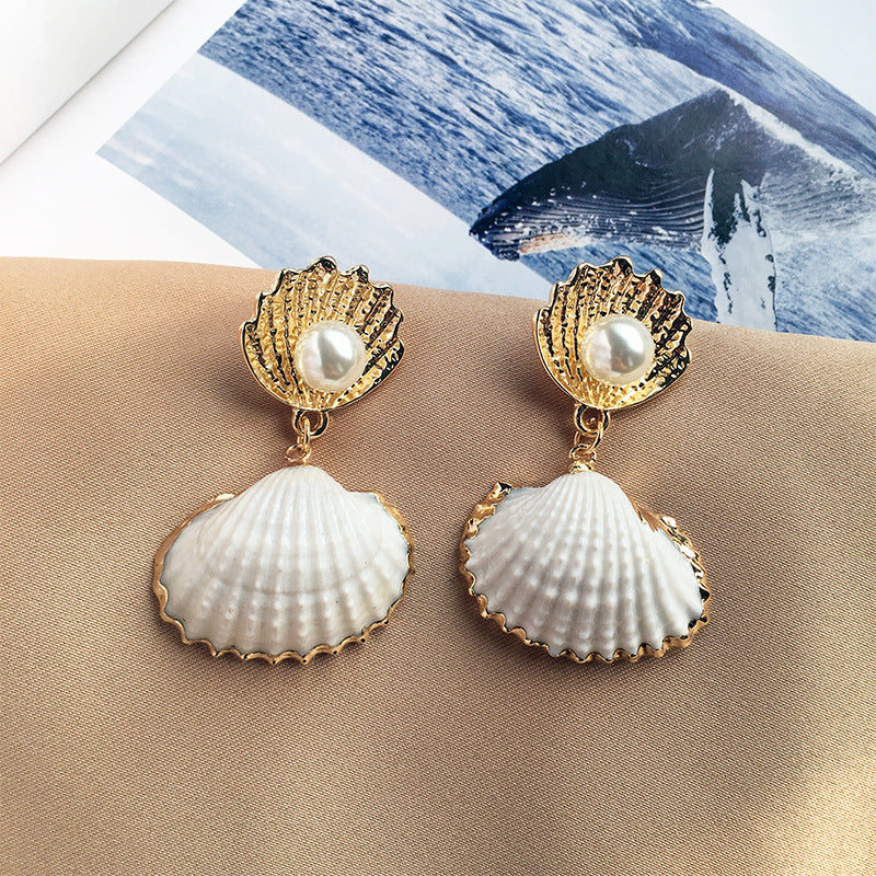 Natural Shell Earring for Women Imitation Pearl Earring Statement Earrings - Disney Voguette
