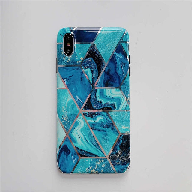 Luxury Plating Geometric Marble Case For iPhone Silicone Cover - Disney Voguette