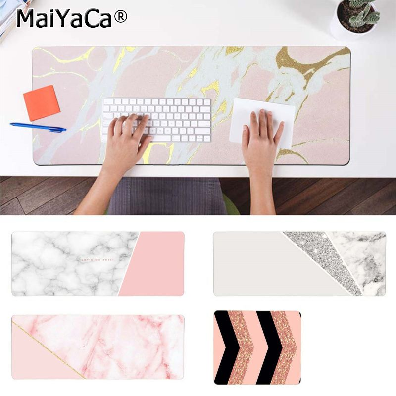 White Pink Gold Marble mouse pad gamer play mats - Disney Voguette